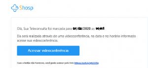 Link no email para conectar na consulta virtual.